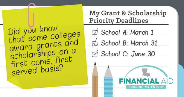 Did you know that some colleges award grants and scholarships on a first come, first serve basis? Financial Aid - Funding My Future.